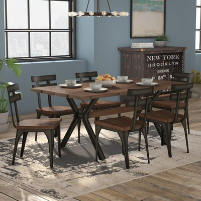 Darcelle 7 Piece Distressed Dining Set Top Finish: Medium Brown Distressed Birch, Base Finish: Semi-transparent Gun Metal Finish
