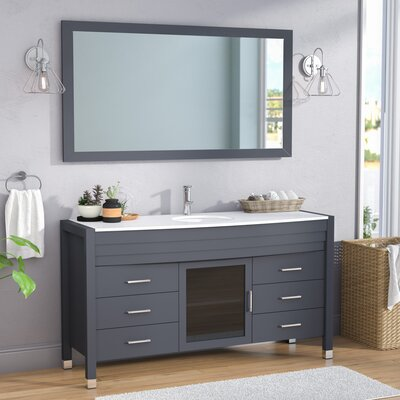 Frausto 61 Single Bathroom Vanity Set with White Top and Mirror Base Finish: Espresso, Faucet Finish: Polished Chrome