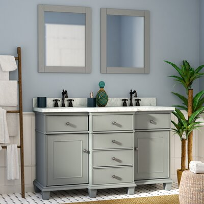 Hewish Solid Wood 61 Single Bathroom Vanity Set with Mirror Base Finish: Gray