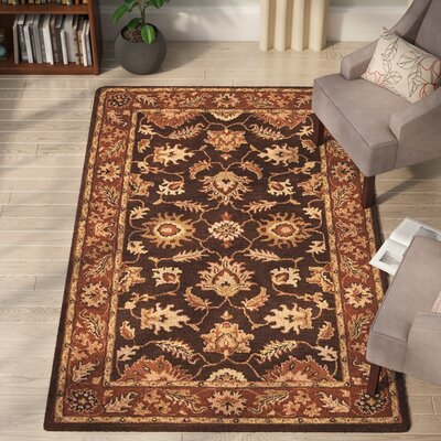 McHenry Vintage Hand-Tufted Wool Brown/Rust Area Rug Rug Size: 5 x 8