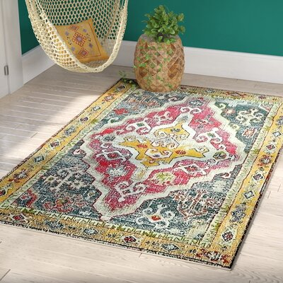 Glenn Yellow/Red Area Rug Rug Size: Rectangle 4 x 6