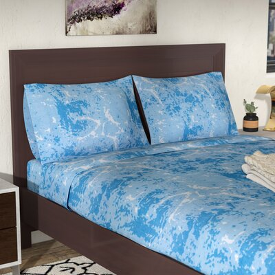 Hanne Marble Print 400 Thread Count 100% Cotton Sheet Set Color: Blue, Size: King