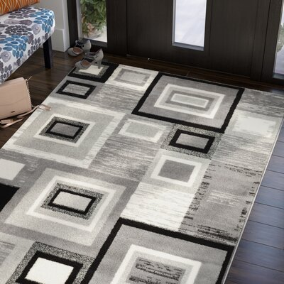 Ayala Gray/Cream Area Rug Rug Size: 5 x 7