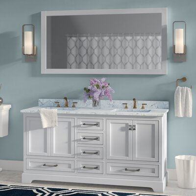 Stian 60 Double Sink Bathroom Vanity Set with Mirror Base Finish: White