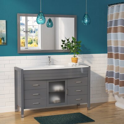Carstarphen 55 Single Bathroom Vanity Set with White Top and Mirror Base Finish: Gray, Faucet Finish: Polished Chrome