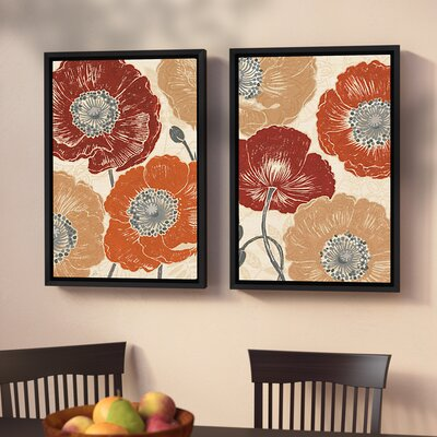 'A Poppys Touch Master' 2 Piece Framed Painting Print on Canvas Set Size: 24