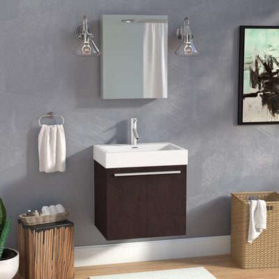 Frausto 23.2 Single Bathroom Vanity Set with White Top and Mirror Base Finish: Wenge, Faucet Finish: Polished Chrome