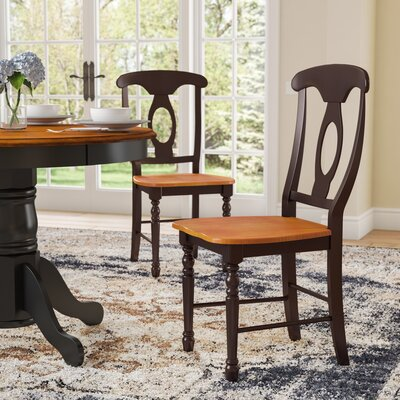 Shelburne Traditional Solid Wood Dining Chair (Set of 2) Finish: Honey / Espresso