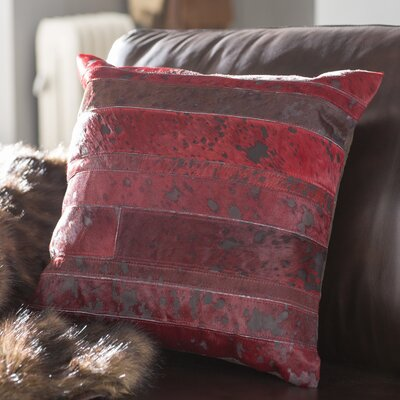 Havza Acid Wash Natural Hide Throw Pillow Color: Wine