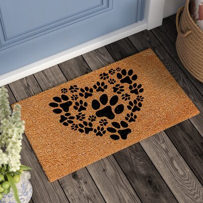 Lattimore Heart Paws Doormat Mat Size: Rectangle 15 x 25