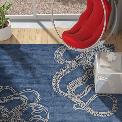 Ash Hill Contemporary Hand-Woven Wool Blue/Beige Area Rug Rug Size: Square 6