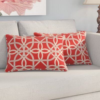 Marissa Indoor/Outdoor Lumbar Pillow Color: Cherry
