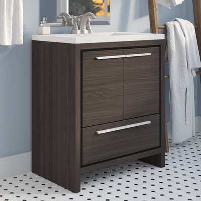 Melillo 29.5 Free Standing Modern Bathroom Vanity Base Finish: Dark Grey Oak