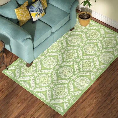 Nesbitt Hand Hooked Green/Beige Area Rug Rug Size: Rectangle 53 x 83