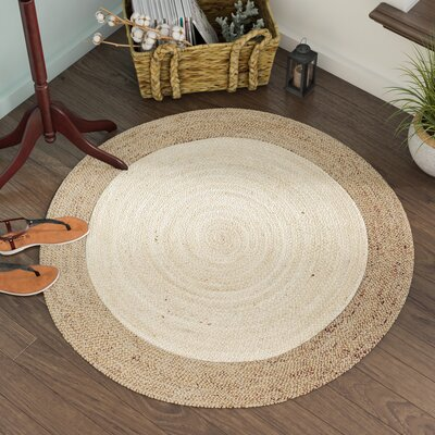 Eisley Hand-Woven Ivory/Natural Area Rug Rug Size: Round 8 x 8