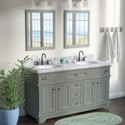 Hewson Solid Wood 61 Single Bathroom Vanity Set with Mirror Base Finish: Gray