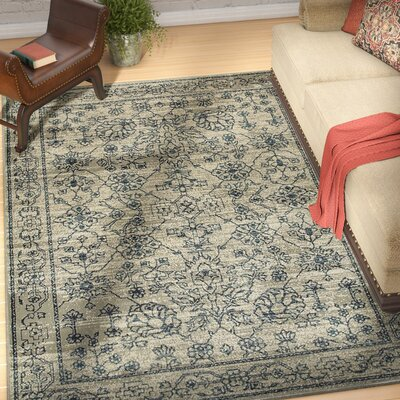 Fayanna Faded Traditions Beige/ Navy Area Rug Rug Size: Runner 23 x 76