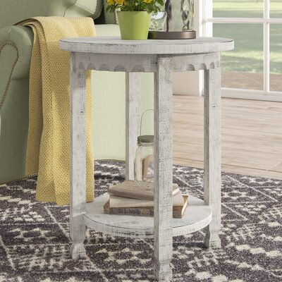 Mangum Heights Round End Table Color: White