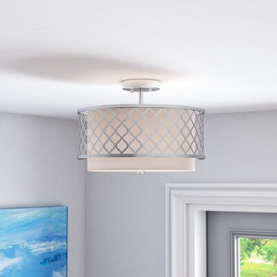 Tymvou Semi Flush Mount Size: 10.75 H x 18.13 W, Color: Brushed Nickel
