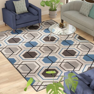 Princess Geometric Stripe Blue Area Rug Rug Size: 7'10