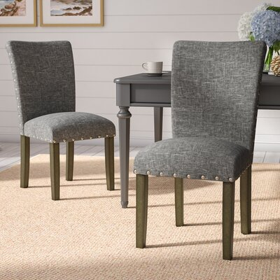 Strongylos Classic Parsons Chair Color: Gray Washed, Upholstery: Slate Gray