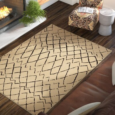 Petit Borendy Cream/Black Indoor Area Rug Rug Size: Rectangle 53 x 73