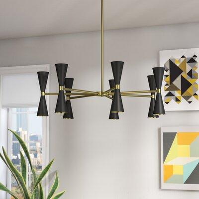 Faith 14 Light Chandelier Color: Black & Vintage Brass