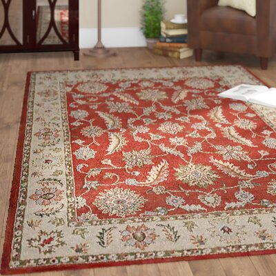 Morrisonville Hand-Woven Wool Red/Beige Area Rug Rug Size: Rectangle 5 x 8