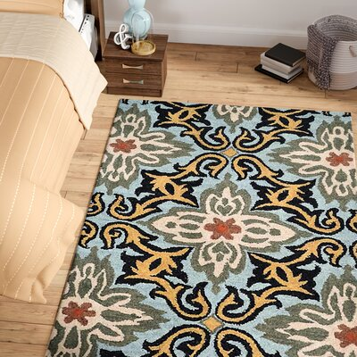 Morell Hand-Tufted Wool Blue Area Rug Rug Size: Rectangle 5 x 8