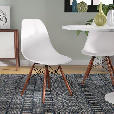 Guardhouse Side Chair (Set of 4) Frame Finish: White, Leg Finish: Walnut