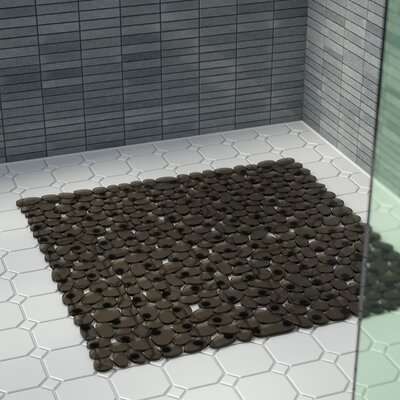 Ed Stall Pebbles Vinyl Shower Mat Color: Natural/Black.