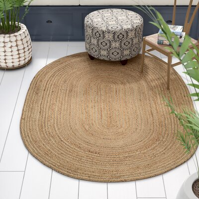 Yeung Jute Natural Area Rug Rug Size: Oval 5 x 7