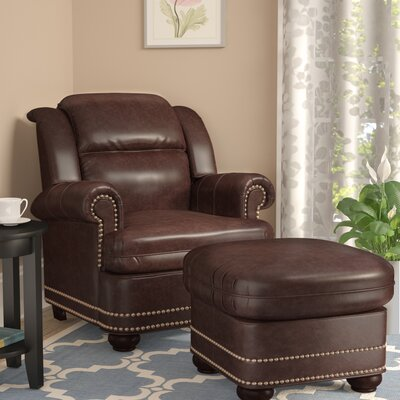 Fawnridge Armchair and Ottoman Upholstery: Brown