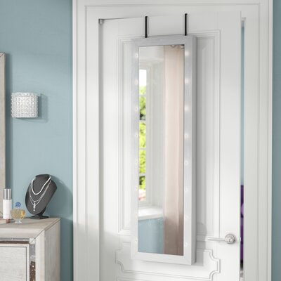 Ola Over The Door Jewelry Armoire with Mirror Color: Gray