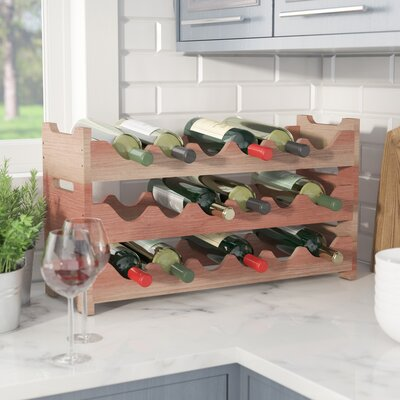 Karnes Redwood Mini Scalloped 18 Bottle Tabletop Wine Rack Finish: Natural
