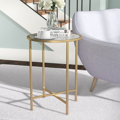 Daliah Faux Marble Round End Table Color: White Marble / Gold Frame