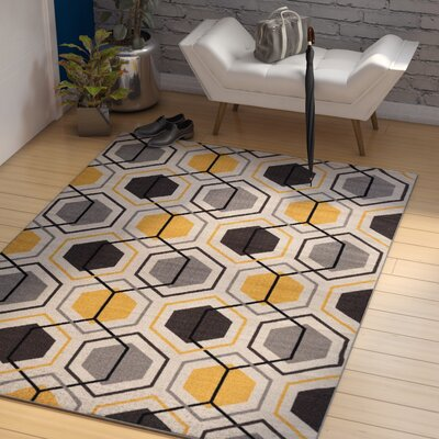 Princess Geometric Stripe Yellow Area Rug Rug Size: 53 x 73