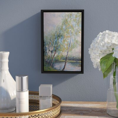 'Poetry On Riverbank' Framed Painting Print On Canvas Size: 12