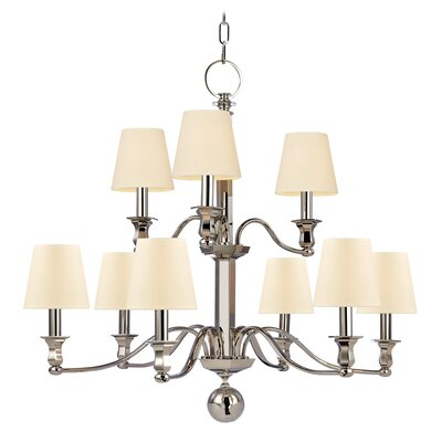 Elbert 2-Tier 9-Light Candle-Style Chandelier Finish: Polished Nickel