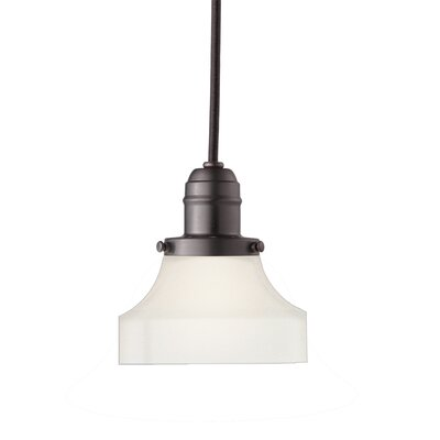 Birchover 1-Light Mini Pendant with Frosted Shade Finish: Old Bronze, Size: 12.5 H x 5 W x 5 D