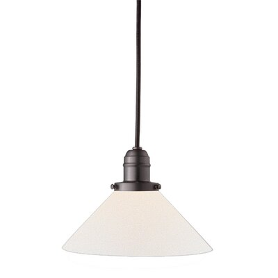 Birchover 1-Light Bell Mini Pendant with Opal Shade Finish: Old Bronze, Size: 13 H x 8.75 W x 8.75 D