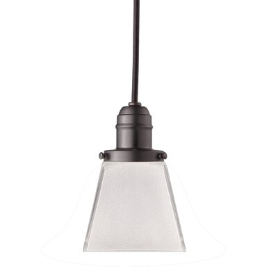 Birchover Bell Glass Shade 1-Light Mini Pendant Finish: Old Bronze, Size: 10.5 H x 4 W x 4 D