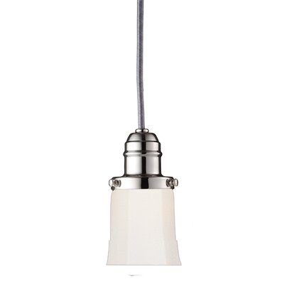 Birchover Bell Mini Contemporary 1-Light Pendant with Opal Shade Finish: Polished Nickel, Size: 14 H x 4.25 W x 4.25 D