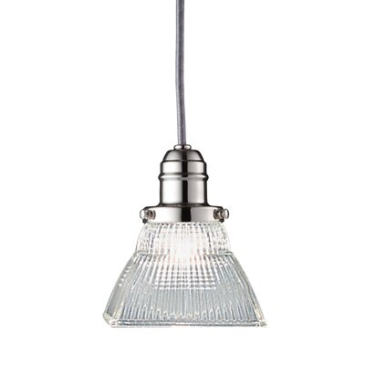 Birchover 1-Light Mini Pendant with Clear Shade Finish: Polished Nickel, Size: 10.5 H x 5.5 W x 5.5 D