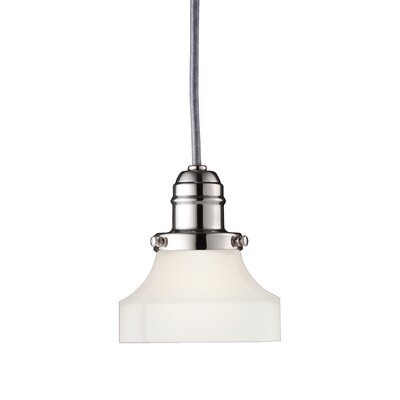 Birchover 1-Light Mini Pendant with Frosted Shade Finish: Polished Nickel, Size: 12.5 H x 5 W x 5 D