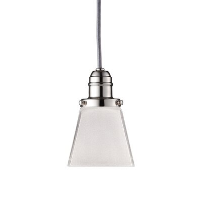 Birchover Bell Glass Shade 1-Light Mini Pendant Finish: Polished Nickel, Size: 10.5 H x 4 W x 4 D
