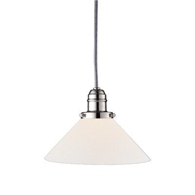 Birchover 1-Light Bell Mini Pendant with Opal Shade Finish: Polished Nickel, Size: 11.25 H x 8.75 W x 8.75 D