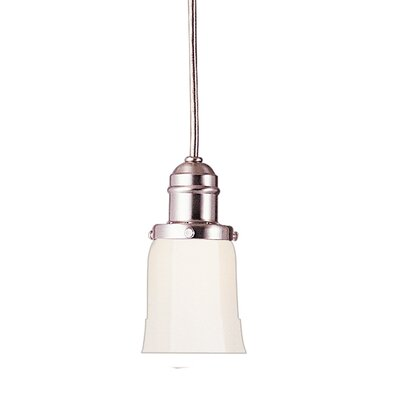 Birchover Bell Mini Contemporary 1-Light Pendant with Opal Shade Finish: Satin Nickel, Size: 14 H x 4.25 W x 4.25 D