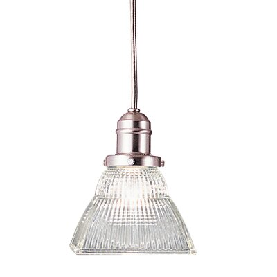 Birchover 1-Light Mini Pendant with Clear Shade Finish: Satin Nickel, Size: 10.5 H x 5.5 W x 5.5 D