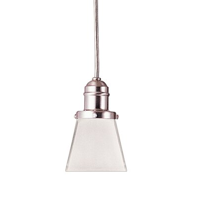 Birchover Bell Glass Shade 1-Light Mini Pendant Finish: Satin Nickel, Size: 13 H x 4.13 W x 4.13 D